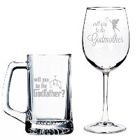 Will You Be My Godfather Beer Mug And Godmotherワイングラスセット