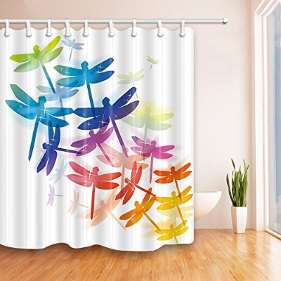 (Multi 13) - NYMB Colourful Dragonfly Art 180cm X 180cm Mildew Resistant Polyester Fabric Shower...