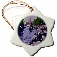 3dローズSandy Mertensウィスコンシン – ヴィンテージ1899年ウィスコンシンDells Narrows – Ornaments 3 inch Snowflake Porcelain...