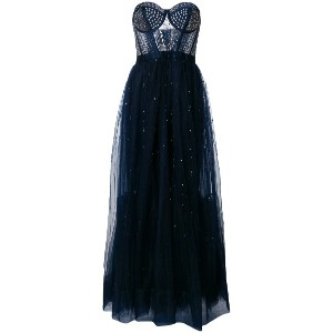 Temperley London Cannes corset embellished tulle dress - ブルー