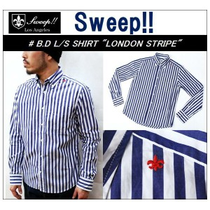 "【送料無料】【Sweep!!/スウィープ】】-B.D L/S SHIRTS ""LONDON STRIPE""-【smtb-m】"
