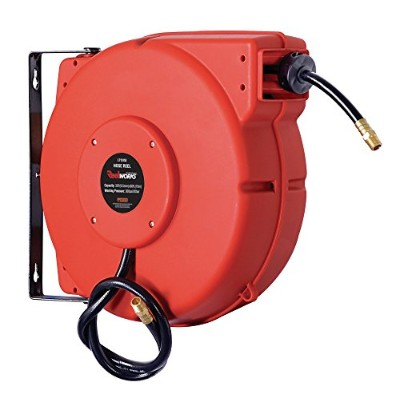 ReelWorks L715153A Plastic Retractable Air Compressor/Water Hose Reel with 3/8 x 50' Hybrid Polymer...