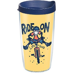 Tervis 1285387Life Is Good–Ride On自転車Tumbler withラップと海軍蓋16オンス、クリア