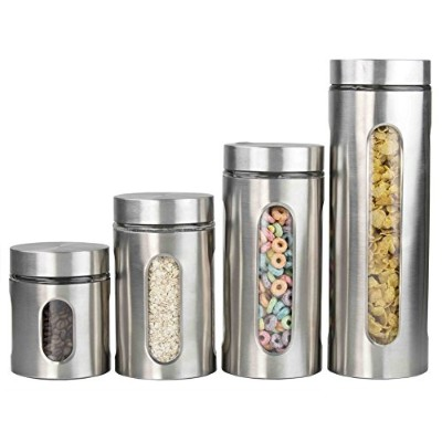 Deluxe 4 pc Stainless Steel Canister with Window Container Set