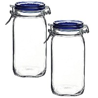 Bormioli Rocco Fido Square Jar with Blue Lid , 503/ 4オンス 1.50 Liter (Pack of 2)