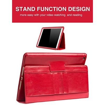 (Red) - iPad Air 2 Stand Case, Slim Smart Genuine Leather Cover with built-in Handstrap and Auto...