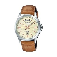 [カシオ] CASIO 腕時計 #MTP1381L-9AV Men's Classic Leather Band 50M Day Date Gold Dial Watch クォーツ: 電池式 MTP...