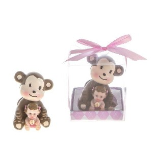 Lunaura Baby Keepsake - Set of 12 Girl Baby Holding Rattle Sitting Next to Monkey Favors - Pink by...