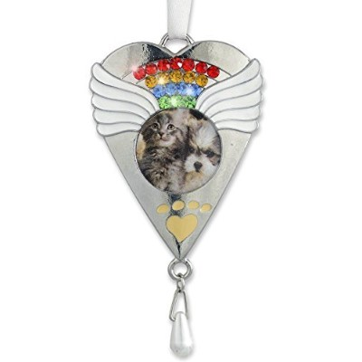 Rainbow Bridge Ornament -- Beautiful Rainbow Crystals and White Angel Wings Surround a Photo of...