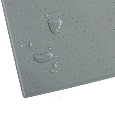 (60cm x 40cm, Grey) - Hiado Non Slip Waterproof Dog Food Mat with Splash Guard for Wood Floors and...