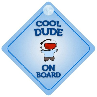 Cool Dude On Board Car Sign New Baby / Child Gift / Present / Baby Shower Surprise by mybabyonboard UK