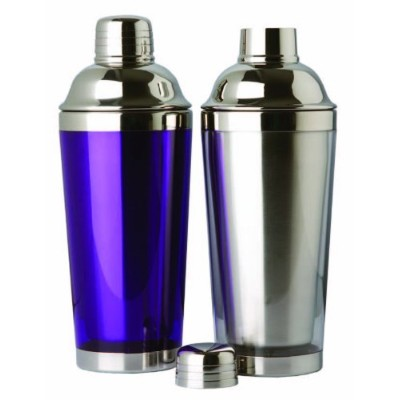 (Green) - Double Wall Stainless Steel Cocktail Shaker, 470ml With Translucent Plastic Colour Base. ...