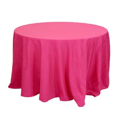 Koyal Wholesale Round Polyester Tablecloth, 90-Inch, Fuchsia