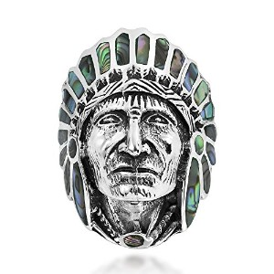 Abalone Shell Native American Indian Chief Head。925スターリングシルバーリング