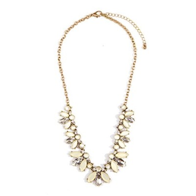 Happiness Boutique Women Statement Necklace Pastel Colours Flower Floral Necklace Nude Gems in...