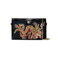 Gucci Black dragon embroidered suede shoulder bag - ブラック