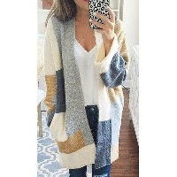 Women New Long Sleeve Casual Patchwork Knit Coat Cardigan Fashion Coat