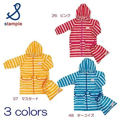 stample ペイント ボーダー レインコートピンク L