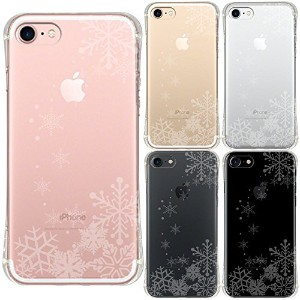 iPhone7 iPhone8 兼用 衝撃吸収 ソフト クリア ケース 保護フィルム付 雪の結晶 透かし デザイン