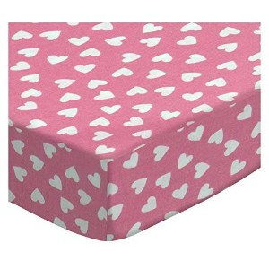 SheetWorld Fitted Pack N Play (Graco Square Playard) Sheet - Primary Hearts White On Pink Woven - Made In USA by sheetworld