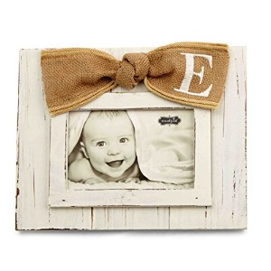 Mud Pie Planked Monogram Bow Frame, E by Mud Pie
