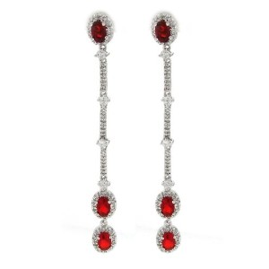 Morning Dew–Classic Long Dangle Earrings with Ruby &ホワイトCZs