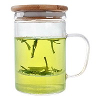 nimatea Tea Cup with Infuser and Bamboo Lid for Loose Tea Leaves。ガラスマグカップBestの醸造の花とグリーンティー。Made...