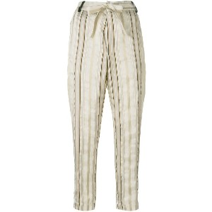 Forte Forte striped cropped trousers - ヌード&ナチュラル
