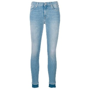 7 For All Mankind 7stretch contrast hem skinny jeans - ブルー