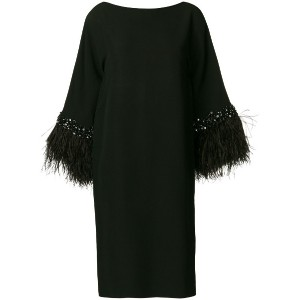 Valentino Vintage feather longsleeved shirt dress - ブラック