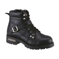 AdTec Mens Black 6in Lace Zipper Boot Leather Motorcycle 12 M