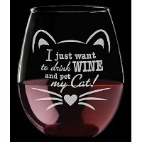 Engraved Cute Cat Lover I Just Want to drink wine andペットMy Cat 。マグギフト21oz StemlessワインガラスFunny...