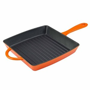 Zelancio調理器具Enameled Cast Ironグリルパン。正方形10インチはPerfect forステーキ、Grilled Cheese , and More。 オレンジ ZEL-GP...