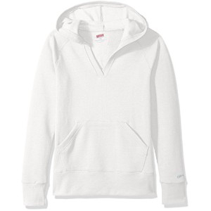 Soffe 7580G100MED Girl Rugby Deep V Hoodie Cp, White - Medium