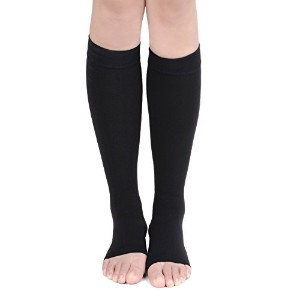 EagleUS Knee High Compression Socks for Men Women 20-30mmHg Open Toe Stockings (XL, Black) by...