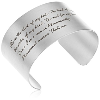 "[ドギャード]Dogeared ""Maya Angelou"" Phenomenal Woman Large Engraved Sterling Silver Cuff Bracelet ジュエリー..."