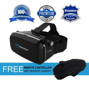 3D VRゴーグル VRヘッドセット 4-6インチ スマホ用 Bluetoothリモコン付 Virtual Reality Headset 360° VR Goggles w/Remote...