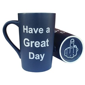 mauag面白いクリスマスギフトIdea–磁器コーヒーマグHave A Great Day With Middle Finger on the bottom Funnyセラミックカップ、Best...
