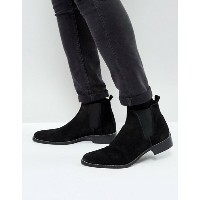 エイソス メンズ ブーツ・レインブーツ シューズ ASOS Chelsea Boots In Black Suede With Sole Zip Edge Detail Black