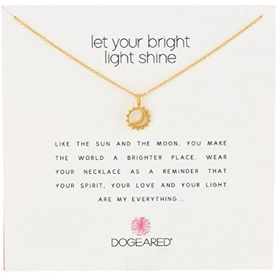 Dogeared Reminder Let Your Bright Light Shine Sun and Moonペンダントネックレス、16.25 ""