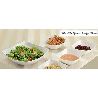 Blue Sky, Square Unbreakable White Plastic Serving Bowls, 64 Ounce, Set of 5, Party Snack or Salad...
