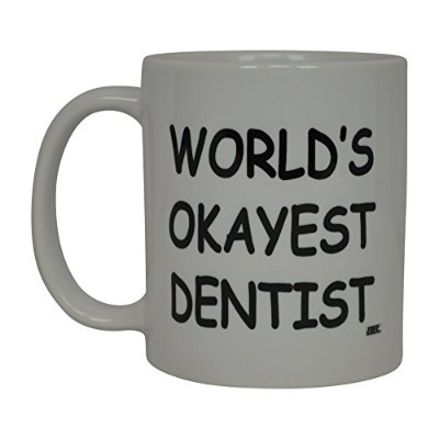 Rogue River面白いコーヒーマグWolds Okayest DentistノベルティCup Great Gift Idea For OfficeギャグホワイトElephantギフトユーモア