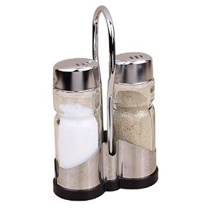 Salt and Pepper Shakers–ガラスボディキッチンSalt and Pepper Set with Matchingスタンド(セットof 3)