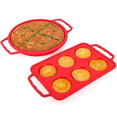 Nuovoware Silicone Baking Moulds, [2 PACK] Food Grade Silicone Reusable Cake Moulds Non-Stick...