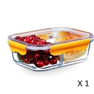 (1580ml with 2-Compartment, Orange) - Food Storage Container, Glass Meal Prep Container 2 Compartment Airtight Food Container, Bento Lunch Box, Lunch Container, BPA-Free, Microwave, Oven, Freezer, Dishwasher Safe [1580ml, Orange]