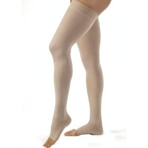 Jobst 115554 Opaque OPEN TOE Thigh High 15-20 mmHg Support Stockings - Size & Color- Natural Large