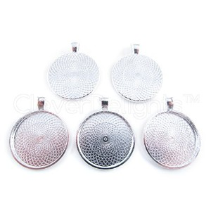 CleverDelights 50 Round Pendant Trays - Shiny Silver Color - 25mm 1 Diameter - Pendant Blanks Cameo...
