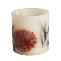 4 by 4インチGerson埋め込みLED Flameless Candle withブラックリーフand Fall Flower