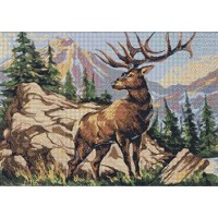 Deer on rock counted cross stitch kits 14 ct,岩の上に鹿、55x43cm 250x178クロスステッチ