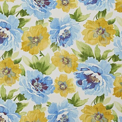 A259 Outdoor Indoor Marine Upholstery Fabric By The Yard | Large Flowers And Leaves - Yellow Blue...